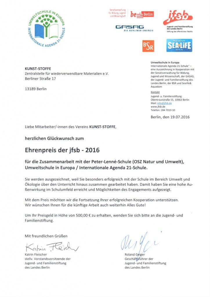 Kunst-Stoffe erhält Ehrenpreis der jfsb 2016 – KUNST-STOFFE